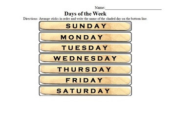 Days of the Week Popsicle Stick Center