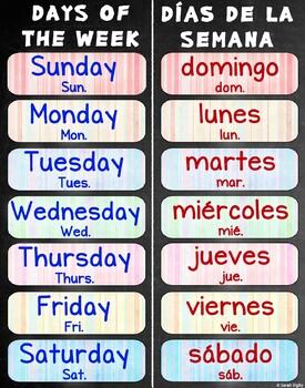 photo regarding Printable Days of the Week Chart titled Times Of The 7 days Printable Spanish Worksheets TpT