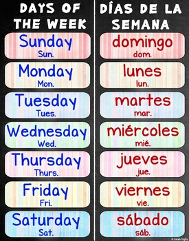 """Days of the Week Poster 22""""x28"""" –Bilingual (Spanish and English)"""