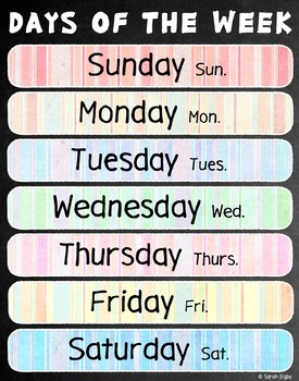 "Days of the Week Poster 22""x28"" – English"