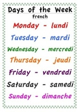 Days of the Week Poster - English and French