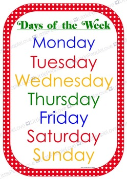 Days of the Week Poster and Card Set