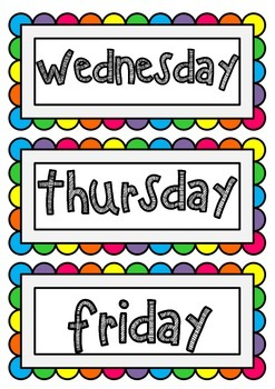 Days of the Week- Poster cards