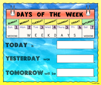 Days of the Week Poster with Speaking Prompts (English)