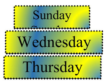 Days of the Week Posters - Blue and Yellow