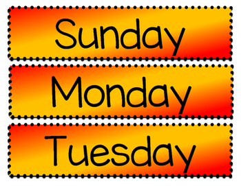 Days of the Week Posters - Red and Gold