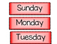Days of the Week Posters - Red and White