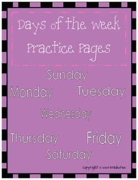Days of the Week Practice Pages
