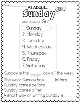 Calendar/Days of the Week Practice Sheets