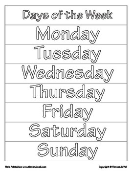 picture relating to Printable Days of the Week called Times of the 7 days Printables PDF