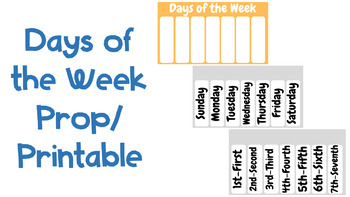 Days of the Week Prop/Printable