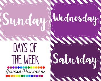 Days of the Week - Purple Diagonal