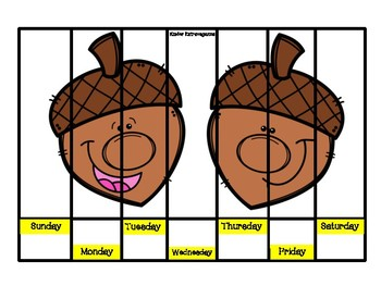 Days of the Week Puzzles Fall Theme