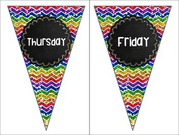 Days of the Week Rainbow Chevron Chalkboard Pennant Banners Calendar