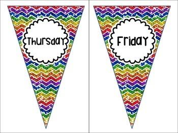Days of the Week Rainbow Chevron White Version Pennant Banners Calendar