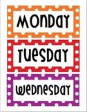 Days of the Week Rainbow - Polka Dot -  Word Wall - Bulletin Board - Freebie!