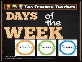 Days of the Week Rainbow Scalloped Circle Theme
