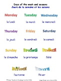 Days of the Week & Seasons in French Worksheets, Games, Activities & Flash Cards