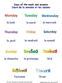 Days of the Week & Seasons in French Worksheets, Games, Ac