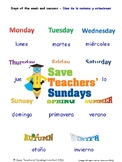 Days of the Week & Seasons in Spanish Worksheets, Games, Activities & FlashCards