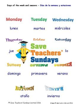 Days of the Week & Seasons in Spanish Worksheets, Games, Activities & FlashCards