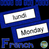 French Days of the Week Pocket Chart Cards and Worksheets Français Anglais Blue