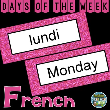 French Days of the Week Pocket Chart Cards and Worksheets Français Pink
