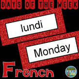 French Days of the Week Pocket Chart Cards and Worksheets Français Anglais Red