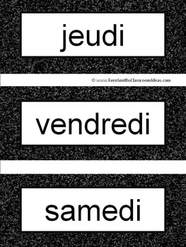 French Days of the Week Pocket Chart Cards and Worksheets Français Black
