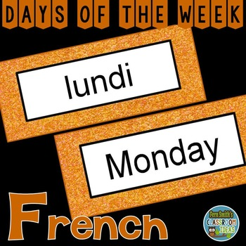 French Days of the Week Pocket Chart Cards and Worksheets Français Orange