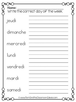 French Days of the Week Pocket Chart Cards and Worksheets Français Teal