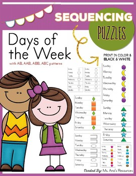 Days of the Week Sequencing Puzzles with Patterns
