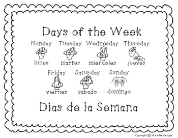 Days of the Week Sign Language Posters- Black and White