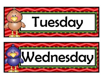 Days of the Week Signs - Birds - Woodland Theme