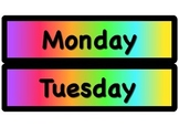 Days of the Week Signs (Blacks and Brights Theme, Rainbow
