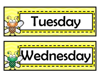 Days of the Week Signs - Bug Theme