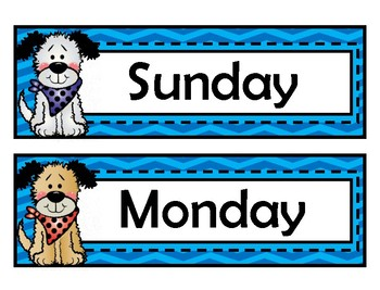 Days of the Week Signs - Red Chevron - Dog Theme