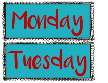 Days of the Week Signs - Red and Turquoise