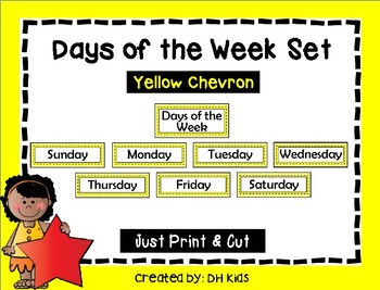 Days of the Week Signs - Yellow Chevron