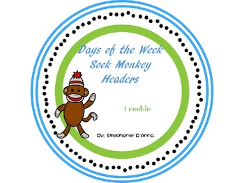 Days of the Week Sock Monkey Labels