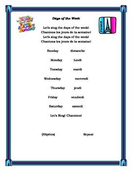 Days of the Week Song in French