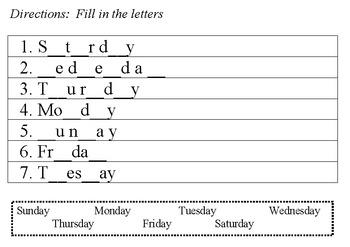 Days of the Week Spelling Workbook