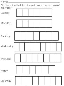 Days Of The Week Stamp Sheet