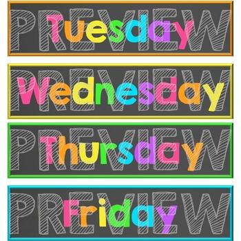Days of the Week Teacher Drawer Labels - Neon Brights Chalkboard