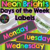Days of the Week Teacher Drawer Labels - Neon Brights Chalkboard