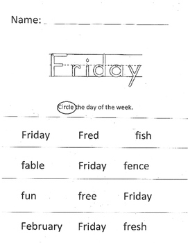 Days of the Week: Trace and Find
