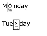 Days of the Week Using Periodic Table