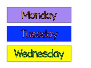 Days of the Week Wall Tags