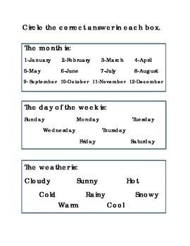Days of the Week Weather Month Worksheet Printable Kindergarten Spelling Reading