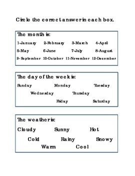 Days of the Week Weather Month Worksheet Printable Kindergarten Spelling  Reading